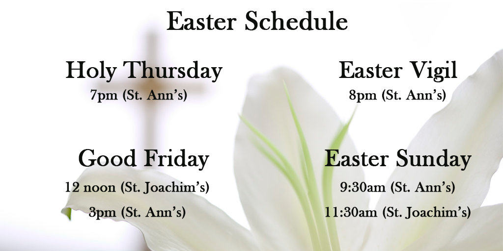 2016 Easter Schedule (No Palm Sunday)